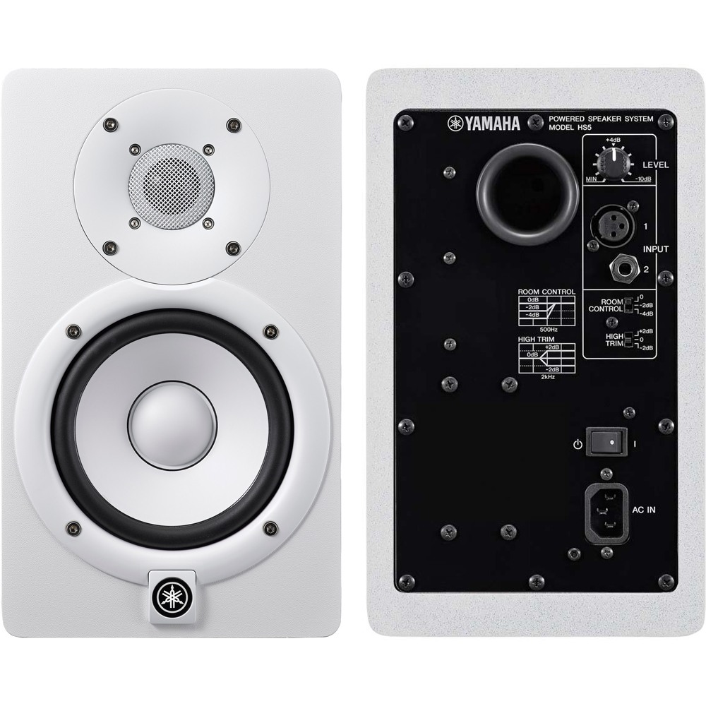 Yamaha Hs5 White Scarlett 2i2 2nd Gen Iso Pads Cables Bundle Powered Studio Monitor The Disc Dj Store